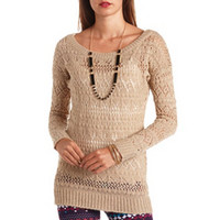 FUZZY POINTELLE OFF-THE-SHOULDER TUNIC SWEATER