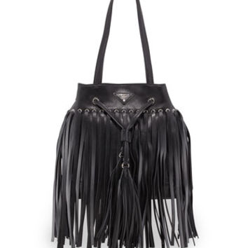 PRADA Soft Calf Leather Fringe Bucket Bag, Black (Nero)