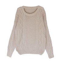 Little Hand Women's Long Sleeve Round Neck Knit Loose Pullover Sweater