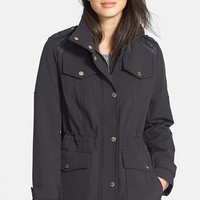 MICHAEL Michael Kors Faux Leather Detail Anorak with Stowaway Hood