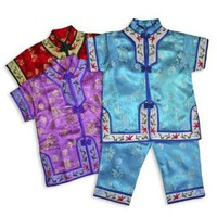 Brocade Peony Children Pajama Set