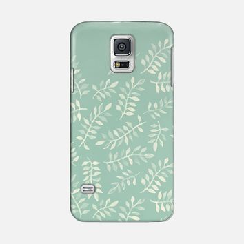 Hand Painted Cream Leaf Pattern on Soft Sage Green iPhone 5s case by Micklyn Le Feuvre | Casetify