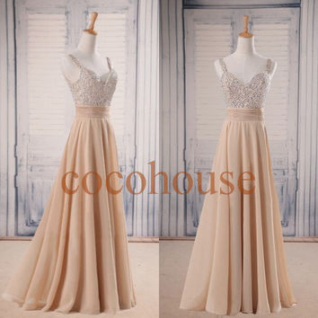 Champagne Beaded Long Prom Dresses Fashion Long Bridesmaid Dresses Homecoming Dresses Evening Dresses Wedding Party Dresses Formal Dresses