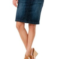 Motherhood Maternity: Indigo Blue Secret Fit Belly(tm) Knee Length Straight Fit Maternity Skirt