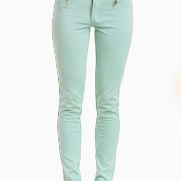Celine 3-Button Jeggings in Mint