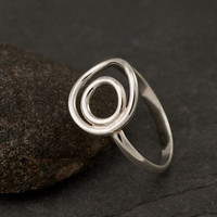 Sterling Silver Ring Silver Circle Ring Circle Duo Ring by Artulia
