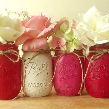 Home Decor, Rustic – Style Painted Mason Jars | Four, Hand Painted Mason Jars — Pink, Red and…