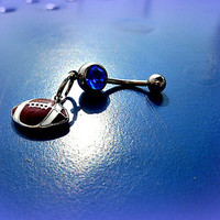 Blue Football Belly Ring, Sports Belly Ring, Football Piercing, Athletic, Athlete, Navel, Belly Button, Fall