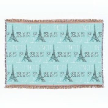Paris Spring Love Aqua Throw Blanket