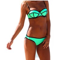 Ebuddy Push up Bright Bling Bikini Set Swimsuit Swimwear