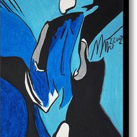 Limited Time Promotion: Blue And Silver Serene Man Stretched Canvas Print