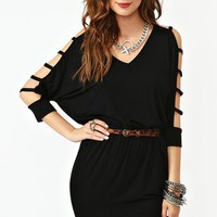 Strapped Dolman Dress - Black in  Clothes Dresses at Nasty Gal