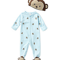 Starting Out Newborn-6 Months Monkey Footed Coverall & Hat Set - Pale