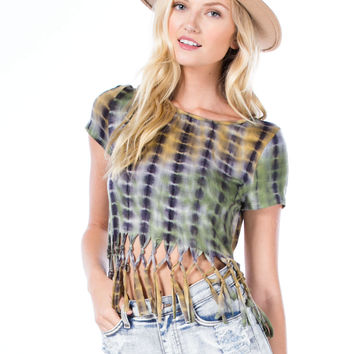 Grid Locked Knotted Fringe Tie-Dye Top