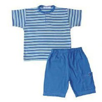 Under the Nile Organic Cotton T-Shirt with Shorts Hippo Stripe 12-24M
