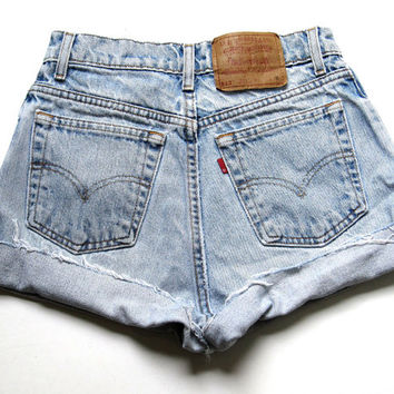 Vintage Levi's Light Wash High Waisted Cut Off Denim Shorts Jean Cuffed 25""