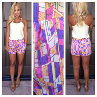 Stained Glasswork Pastel Shorts With Pockets