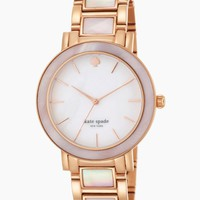 "kate spade new york Women's 1YRU0396 ""Gramercy"" Gold-Tone and Mother-of-Pearl Bracelet Watch"