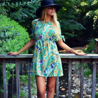 Mixed Media Mint Printed Fit & Flare Dress