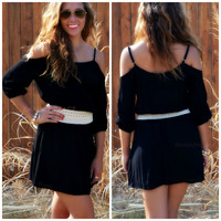 Falling Free Black Open Shoulder Dress