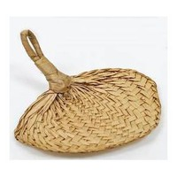 7` Natural Woven Buri Palm Fans - Package of 18 Hand Fans