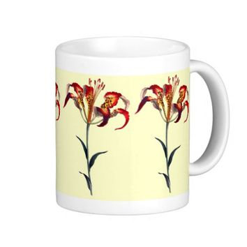 YELLOW AND RED LILY Classic White Mug