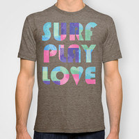 Surf Play Love T-shirt by Wendy Ding: Illustration