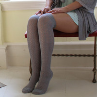 Grey Pointelle Over-the-Knee socks | Crochet Pointelle Socks | Playful Sophisticated Legwear at Between the Sheets