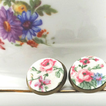 Stud Earrings - Cottage Roses Earring Studs - Pink Green Flowers - Shabby Chic Romantic Fabric Buttons Jewelry - Antique Posts