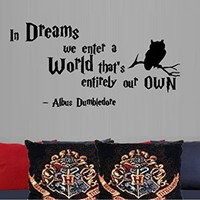 "IN DREAMS WE ENTER A WORLD #2 DUMBLEDORE ~ HARRY POTTER - WALL DECAL , 13"" X 26"""