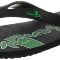Sanuk Men`s Rubber Dubs Thong Sandal,Black/Green,9 M US
