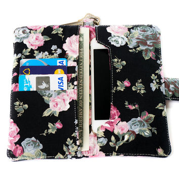 FLORAL IPHONE WALLET Black Vintage Flower Card Holder Pouch Sleeve Bag Purse Samsung Galaxy S3…