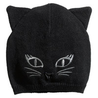 H&M - Knit Hat with Embroidery - Black - Kids