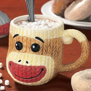 Sock Monkey Mug with Lid Ceramic Cable-Knit Texture Collectible