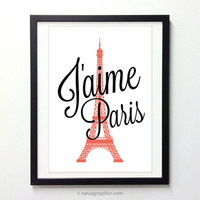 J'aime Paris Poster  - I love Paris Graphic Wall Art - France City Art