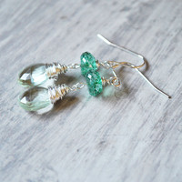Green Quartz Earrings Sterling Silver Gemstones by starletta
