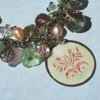 Pink and Green Antique Brass Floral Bracelet by FantasyBeadDesigns