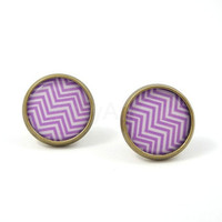 Purple and White Chevron Earring Studs Zig Zag by MistyAurora