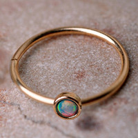 14K Gold Filled Lip Ring with Set Opal