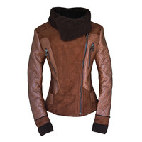 Wholesale Beam Waist Zippers Stitching Fleece Lined PU Leather Color Matchimg Coat For Women (BROWN,XL), Jackets & Coats - Rosewholesale.com