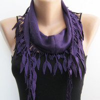 Summer scarf Purple cotton leaves lace scarfspring by sascarves