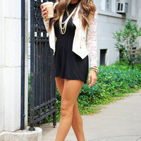Uptown Lace Down Cardigan: Cream