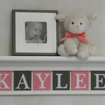 "Nursery Shelf - Nursery Decor Sign 24"" Linen (Off White) Shelf - 6 Wood Letters Pink and Brown - Baby Girl - KAYLEE"