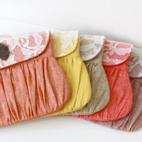 Autumn wedding linen and lace clutch, bridesmaid clutch, bridal clutch, bridesmaid gift, orange, yellow, taupe,red,mauve