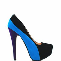 velvet colorblock platform heels $28.20 in BLACK MUSTARD RED ROYALBLUE - Heels | GoJane.com