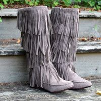 Milton Ridge Taupe Suede Fringe Tall Boots