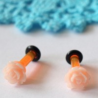 8g 3mm Peach Roses Plugs EGL Piercing gauges by glamasaurus