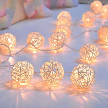 35 Bulbs White Rattan ball string lights for Patio,Wedding,Party and Decoration