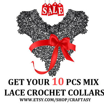 10 PCS of Random Sent Mixed Lace Crochet Knitted Neckline Collars Appliques