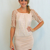 Blushy Nude lace off the shoulder dress - $35.00 | Daily Chic Dresses | International Shipping